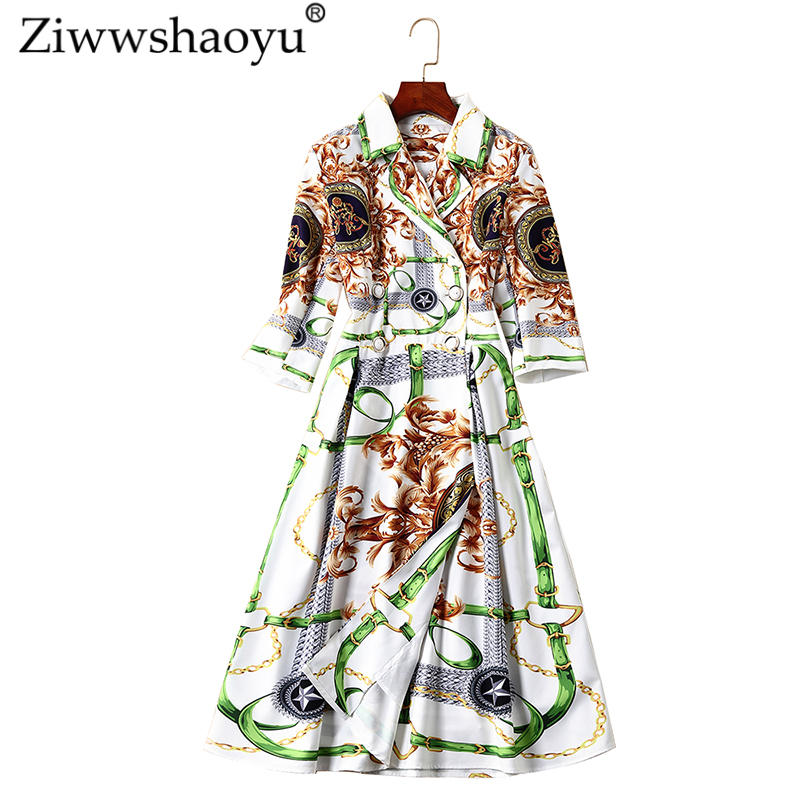 Lady Nouveau Turn Office Cardigan Imprimer Mode Ziwwshaoyu Collar Femmes A Printemps Robe breasted Multi down 2019 Double ligne qwYngFU