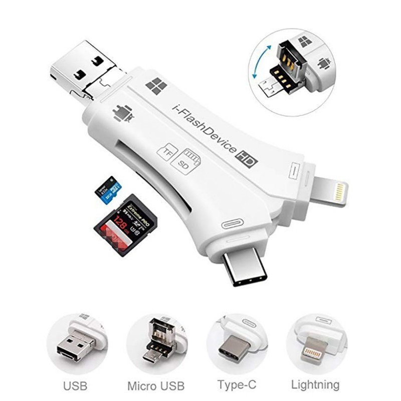 Mini Camera SD/TF Card Viewer For IPhone IOS For Ipad Android System Phones Laptap PC For Lightning/Type C/Micro USB2.0 OTG Port