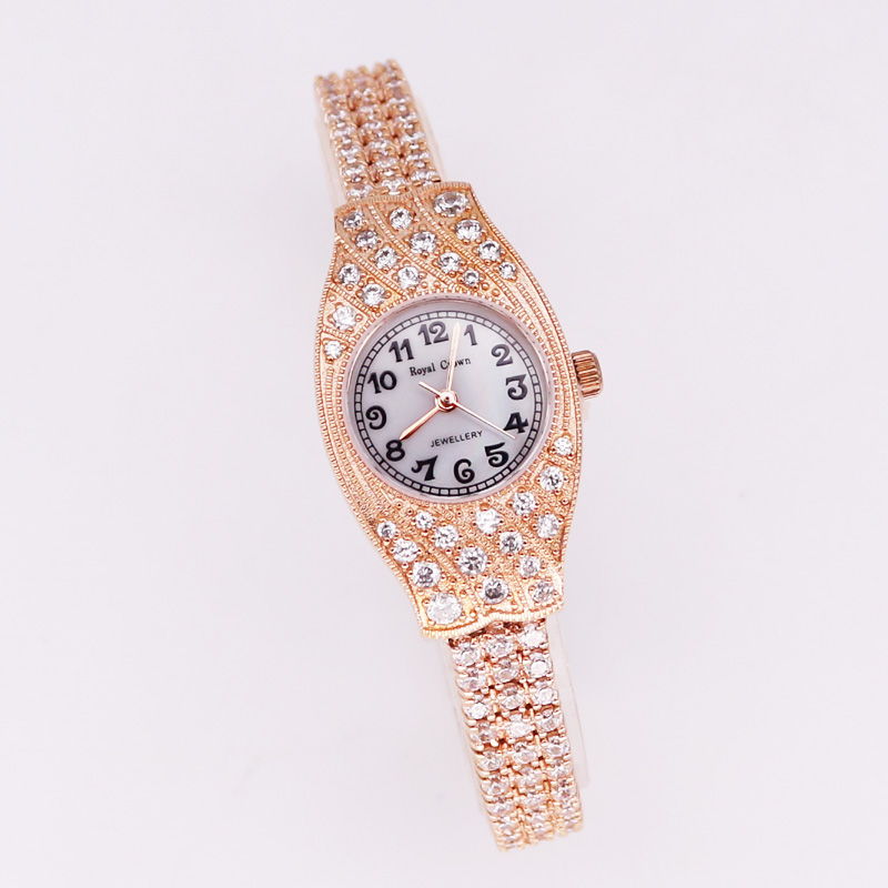 Prong Setting Royal Crown Lady Women's Watch Japan Quartz Jewelry Hours Fine Fashion Crystal Luxury Rhinestones Girl Gift prong setting women s watch japan quartz shell hours clock fine fashion dress jewelry twining bracelet luxury crystal girl gift