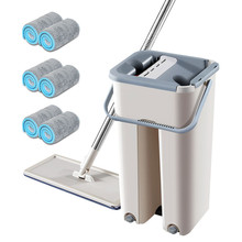 Microfiber Mop with Bucket 2/4/6/8PCS Replacement Cloth Floor Cleaning Squeeze Free Hand Lazy Flat Mops Dust Tool