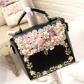 Unique Design Women Fashion Handmade Flower Rhinestone Bag One Shoulder Cross-body Beading Handbag 3Colors