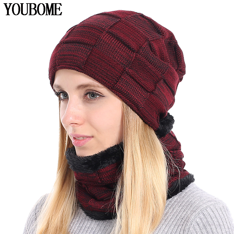 YOUBOME Knitted Hat Scarf Winter Skullies Beanies Female Winter Hats For Women Men Baggy Ring Warm Thicken Fashion Cap Hats 2018