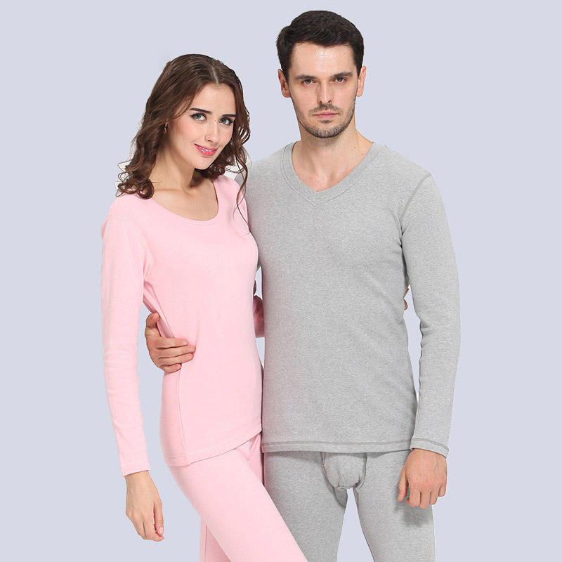 Autumn And Winter High Quality Wool Cotton Thermal Underwear Long Johns Set Men And Women Lovers Thicken Outfit Pajamas Set