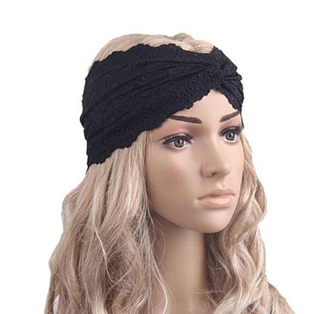 1 pc femmes musulman turban bandeau noir dentelle turban croix headwrap dentelle bandeau cheveux. Black Bedroom Furniture Sets. Home Design Ideas
