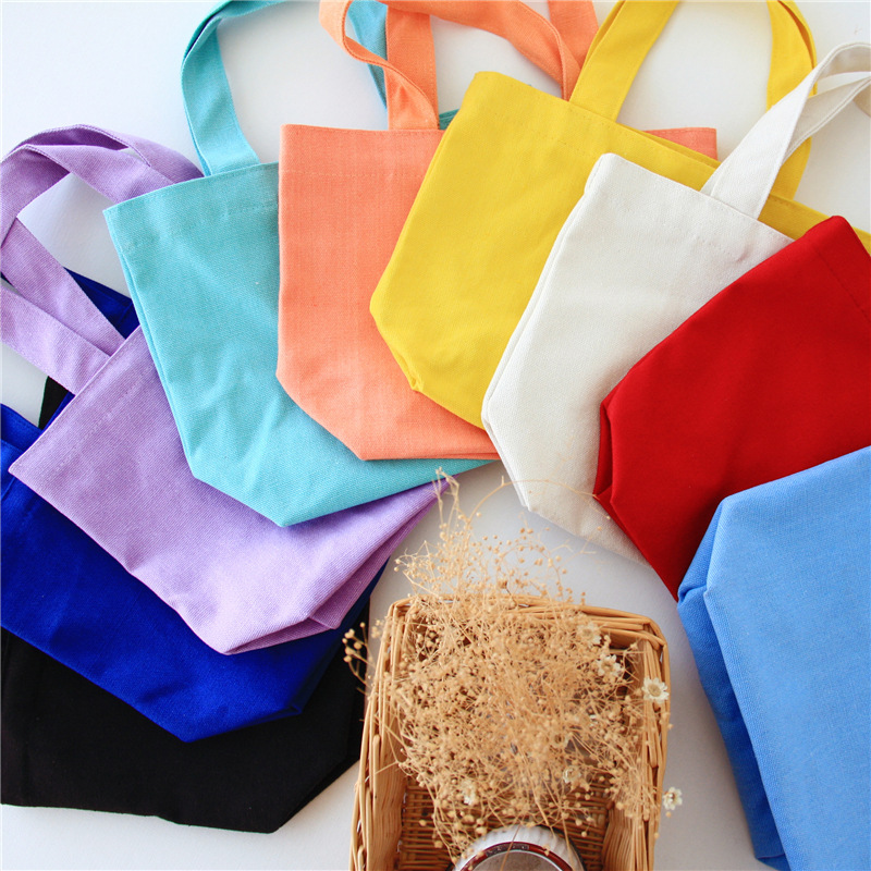 50pcs lot Candy Color Wedding Party Gift Bag Cotton Canvas Food Bag Lunch Reusable Tote Pouch
