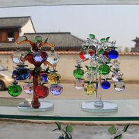 Glass Crystal Apple Tree With 12pcs Apples Fengshui Crafts Home Decor Figurines Christmas New Year Gift