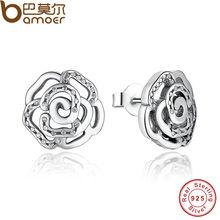 Bamoer original 925 shimmering rose petals flower stud pendientes con clear cz joyería de moda pas406
