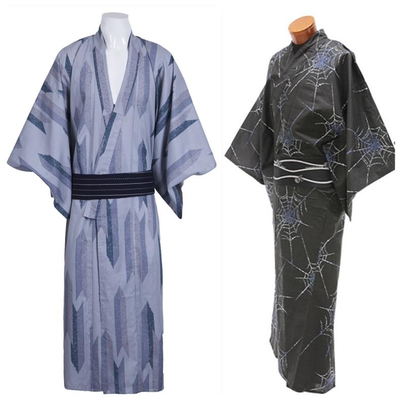 Traditional Japanese Men Kimono Cotton Yukata Haori National Long Robe Cosplay Halloween Costume Casual Robe Bathrobe Gown