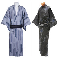 Traditional Japanese Men Kimono Cotton Yukata Haori National Long Robe Cosplay Halloween Costume Casual Robe Bathrobe Gown