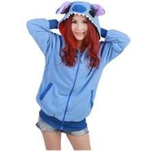 Lilo Stitch Women Men Sweatshirts Long sleeve with zipper hat Cosplay Blue/Pink Stitch Hoodies Hoody Jacket Coat Outwear Hooded