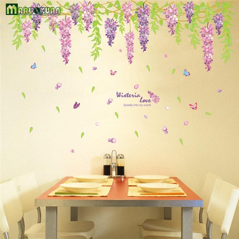 YunXi Wisteria Flowers Plant Stickers Bedroom Living Room Corridor ...
