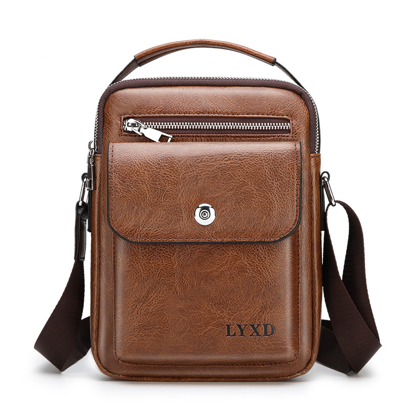 Men PU Leather  Fashion Shoulder Bag High Quality Travel Crossbody Bag Casual Black Business Mens Hand Bag Men Leather Messenger