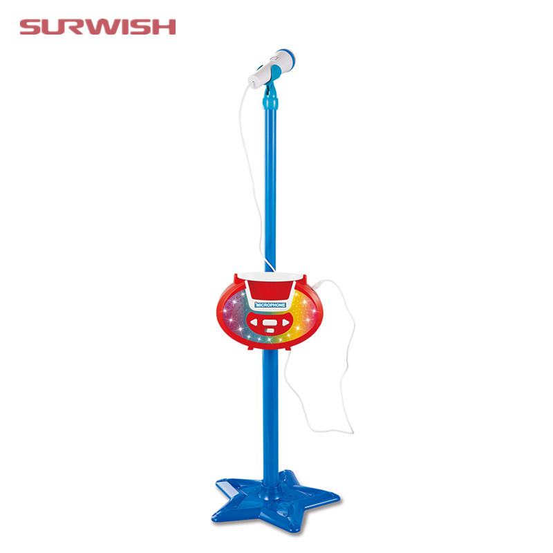 Surwish Portable Kids Karaoke Machine Toy Adjustable Star Base Stand Microphone Music Play Toy