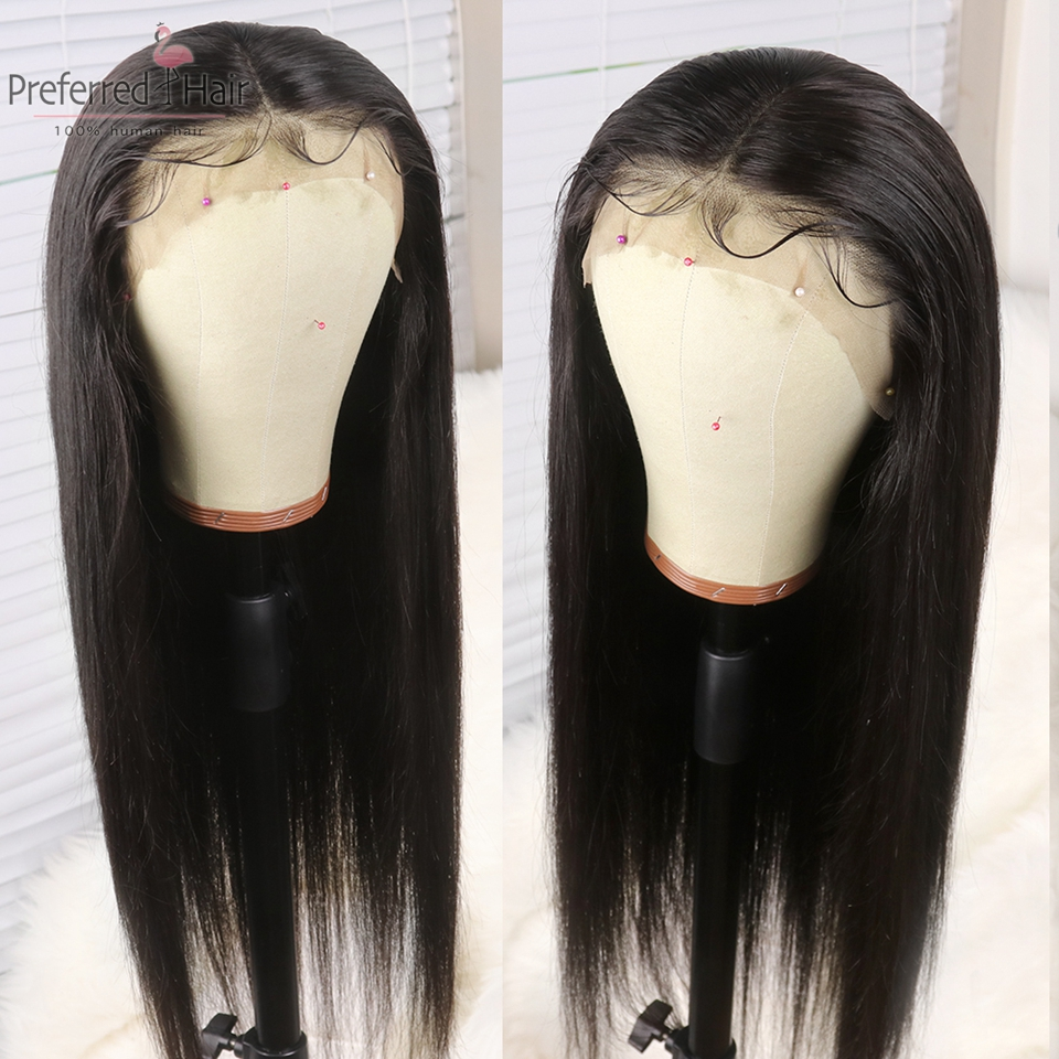 Preferred Remy Brazilian Straight Lace Front Wig With Baby Hair Glueless Pre Plucked Full Lace Human Hair Wigs For Black Women