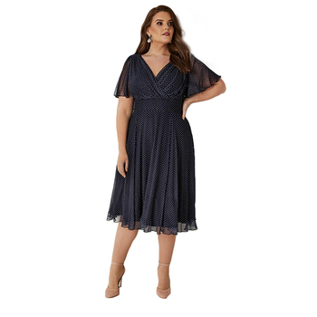 Kissmilk Plus Size Women Office Lady Casual Dot Print Deep V Neck Short Sleeve High Waist  Wrinkle Hem A Line Midi Dress 4