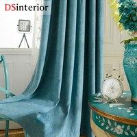 DSinterior hoge kwaliteit effen kleur chenille verduisteringsgordijn voor woonkamer raam custom made