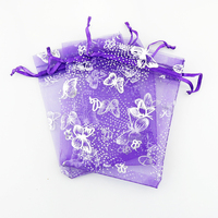 11x16cm Deep Purple Organza Butterfly Printing Bags Jewelry And Candy Bag 100pcs/lot Wedding Favor Gift Pouches Wholesale