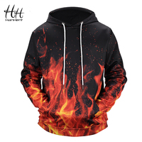 HanHent 3d print Fire Hoodies Men's Hoody Men Creative Digital Printing Clothing Autumn New Swag Sweatshirts 3D Boys HD0023