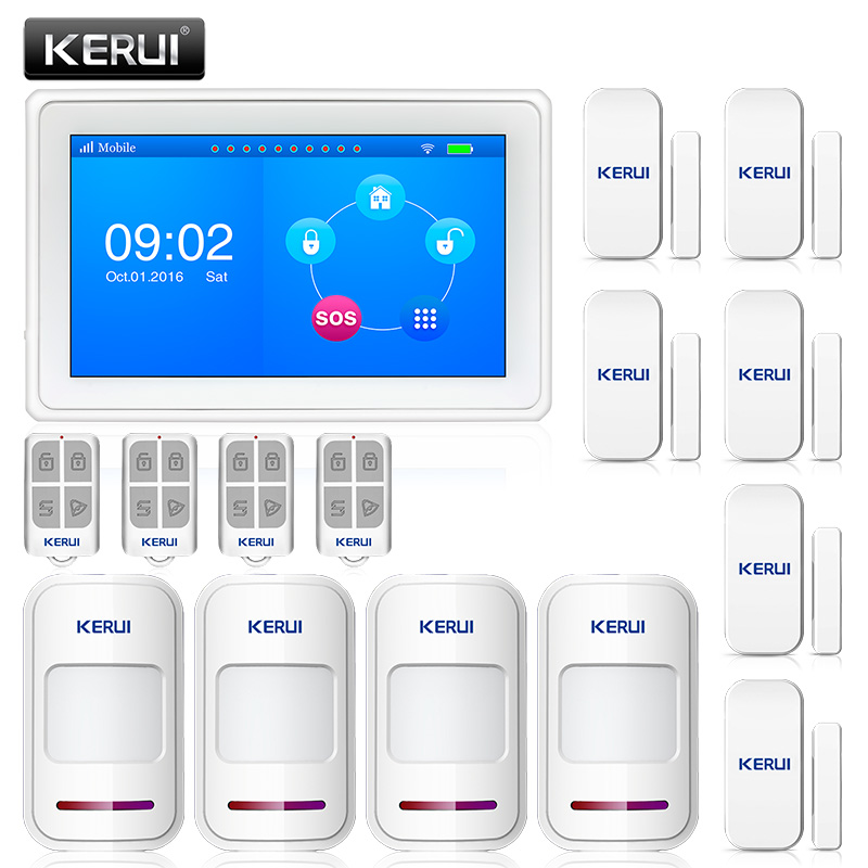 KERUI K7 WIFI GSM Home Security Alarm Systems 7 Inch TFT Color Display Smart  Wireless Burglar Alarme Casa DIY KitsKERUI K7 WIFI GSM Home Security Alarm Systems 7 Inch TFT Color Display Smart  Wireless Burglar Alarme Casa DIY Kits
