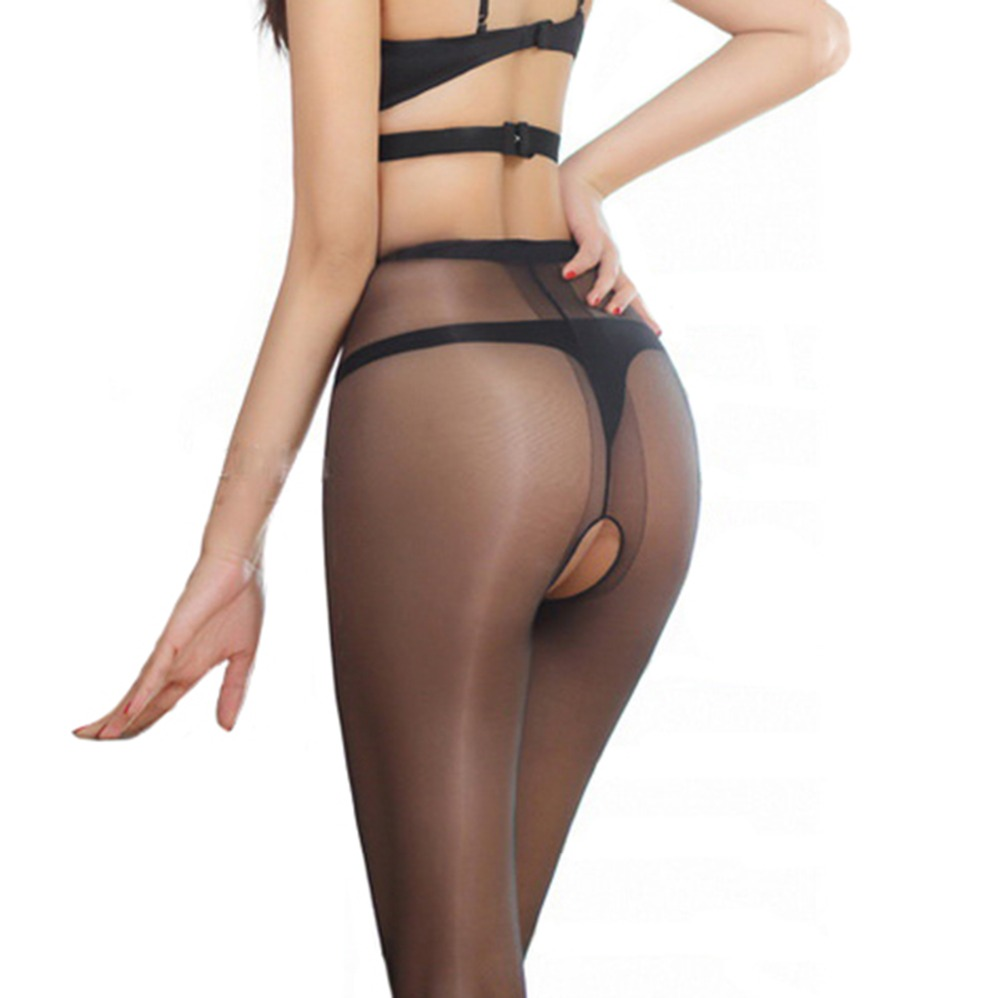 Sexy Micro Shiny Pantyhose T File Open Crotch Women Tights Slim Toe Transparent Medias Temptation Hosiery