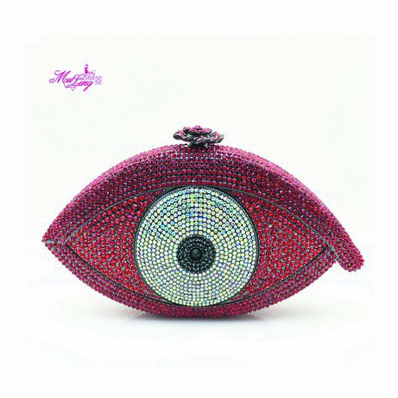 Boutique European American Eyes Hollow Handbag Stickers Evening Banquet Bags Evening Crystal Women Wallets Female Party Bags Red luxury crystal clutch handbag women evening bag wedding party purses banquet