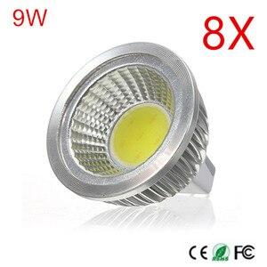 Высокая мощность MR16 COB 9 Вт Светодиодная лампа MR16 DC12V, теплый белый/холодный белый Светодиодный прожектор с высокой яркостью 8 шт.
