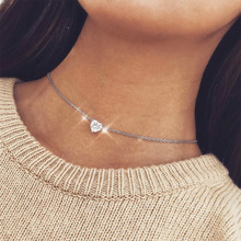 Модное циркониевое ожерелье с подвеской в виде сердца, женское золотое серебряное короткое ожерелье с цепочкой, ожерелье с подвеской, Кристальное ожерелье в виде сердца, чокер