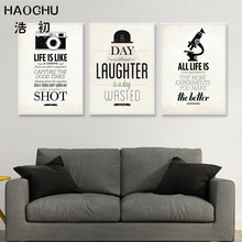 HAOCHU Modern Simple Life Quotes Canvas Art Print Painting Poster Black White Typography Bicycle Camera Wall Pictures Home Decor