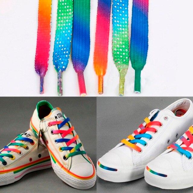 zapatos de separación 084d0 38c9c US $1.56 |Rainbow Multi Colors Flat Sports Shoe Laces Shoelaces Strings  Strap for Sneakers Unisex rainbow shoelace Hot 1 pair 120cm 47inch-in ...