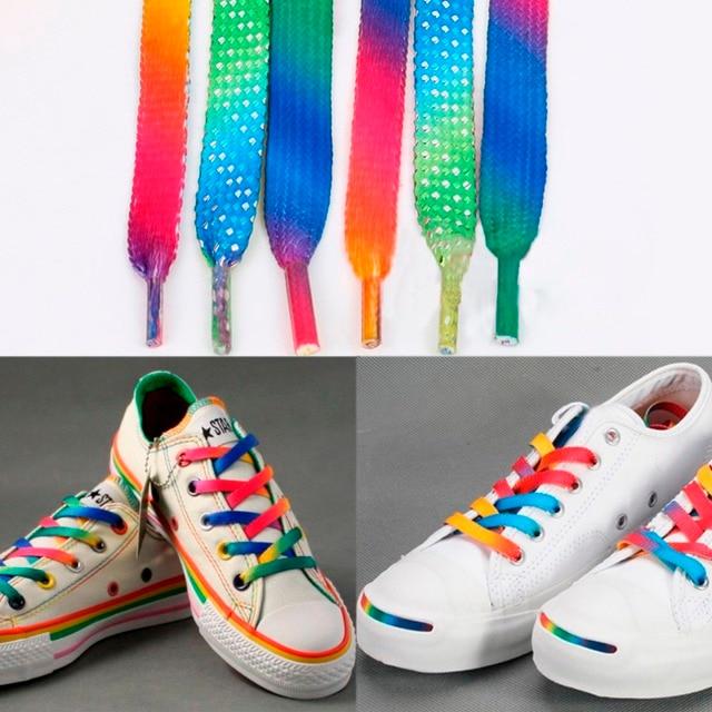 a29140973969a Rainbow Multi-colores Planos Deportes rainbow cordones de los zapatos  cordones de los Zapatos Cordones