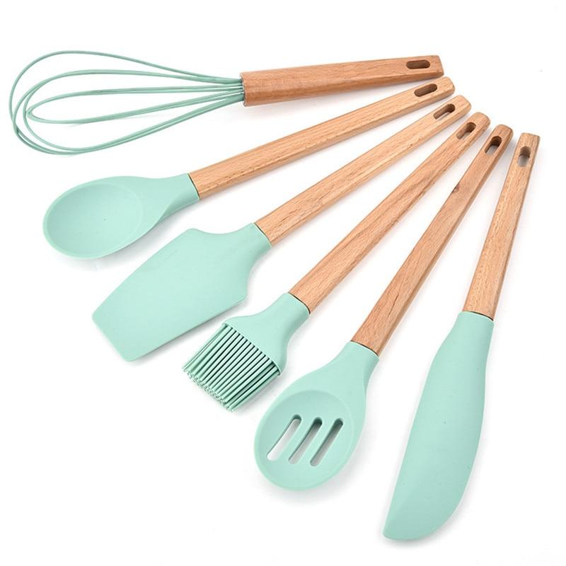 6 pièces/ensemble vert FDA Silicone ustensiles de cuisson poignée en bois cuisine outils de cuisson ustensiles cuisine non-stique grattoir fouet Kit de brosse