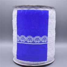Wholesale 400yards/Roll White Lace Ribbon Tape Wide/22mm Trim Handicrafts Embroidered African Fabric Material Applique