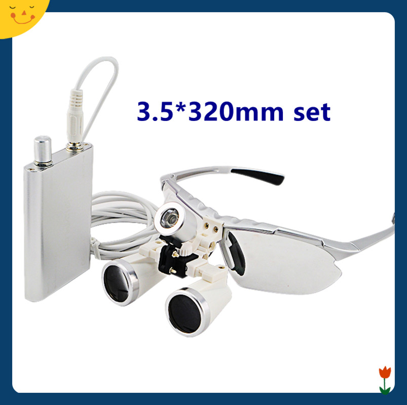 High Quality Silver magnifying glass 3.5X320 Medical Surgical loupes Dental Loupes head loupes with LED light magnifier 5lens led light lamp loop head headband magnifier magnifying glass loupe 1 3 5x y103