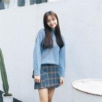 Turtleneck Sweater Women Knitted Oversized Long Sleeve Pullovers Blue Cashmere Women Sweater