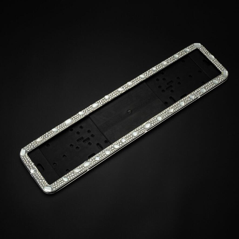 Car License Plate Frame Crystal Stainless Steel Russia Number Plate Holder For Europe Germany Diamond Universal For Vw Polo 6r