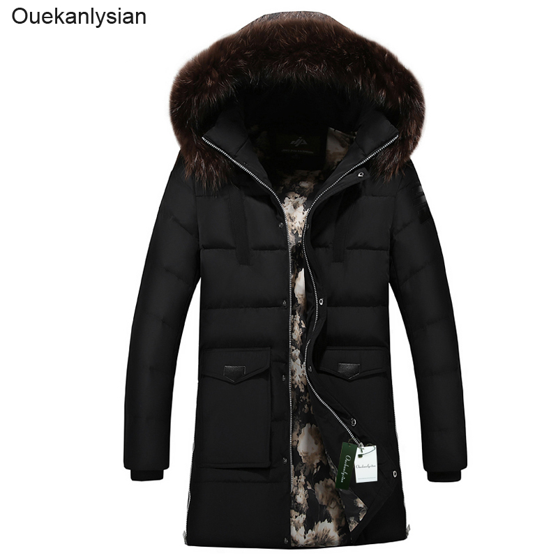 Ouekanlysian Winter Parka Jacket Men Outwear Thick Fur Hooded Long Down Cotton Parkas Coat Slim Fit Hat Detachable parka green free shipping winter jacket men down parka warm coat hooded cotton down jackets coat men warm outwear parka 225hfx
