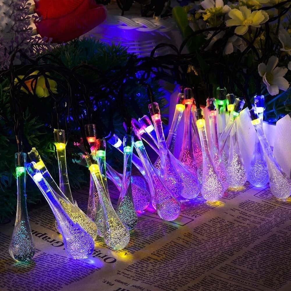 Teardrop Christmas Lights.Us 8 56 38 Off 20 Led String Light Solar Outdoor Garden Drop Of Water Wedding Party Decor Raindrop Teardrop Solar Powered String Fairy Lights In Led