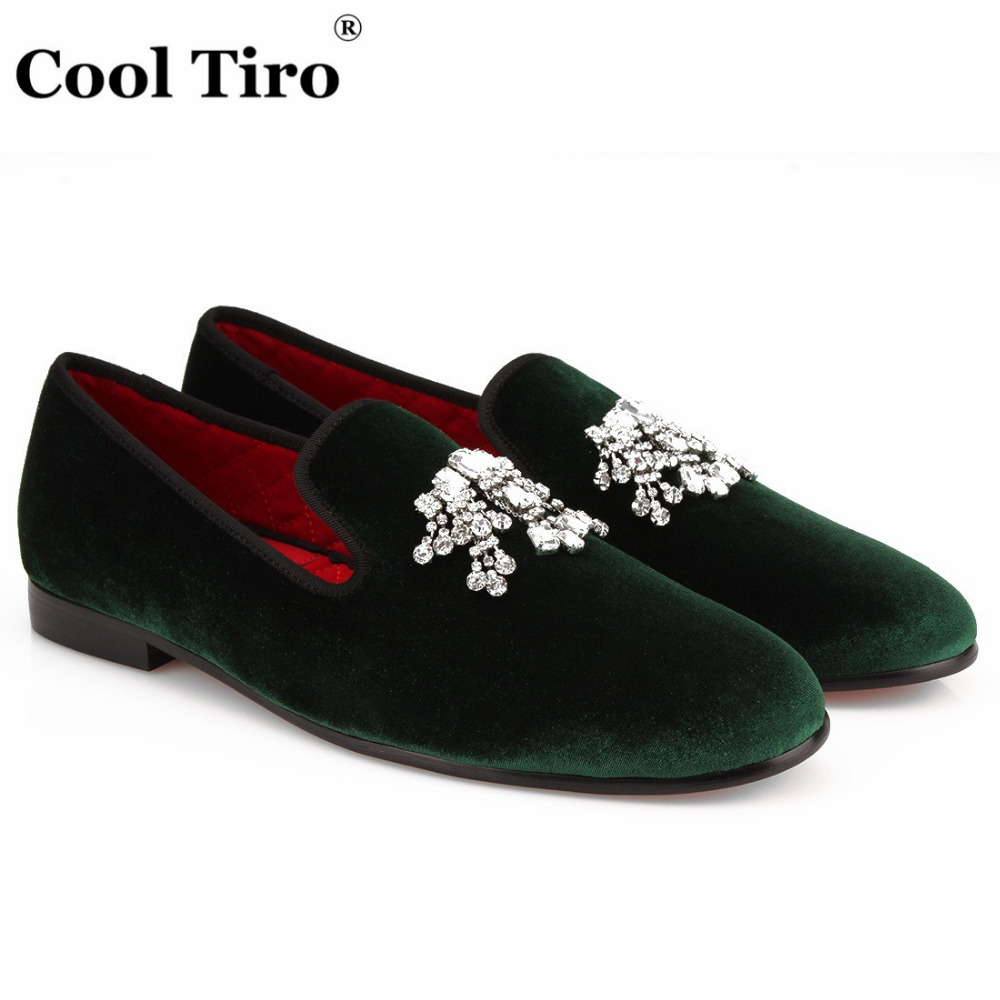 757c005efdb COOL TIRO New green mens fashion velvet loafers slip on flats casual Diamond  flower shoes driving