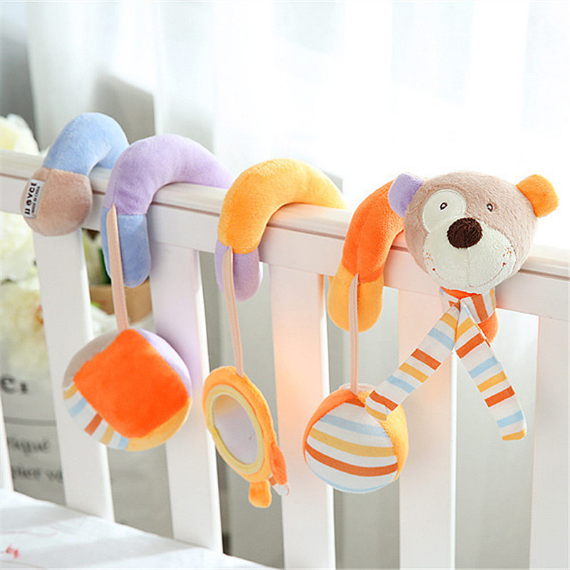 Infant baby toy activity spiral bed stroller bumper with BB device hanging crib rattle kids toys newborn juguete bebe animales baby toys