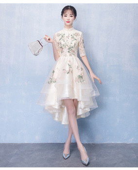 High Low Traditional Chinese Qipao Dress Lace Wedding Bridesmaid Dress Embroidery Dress Illusion Modern Party Gown vestido Q024