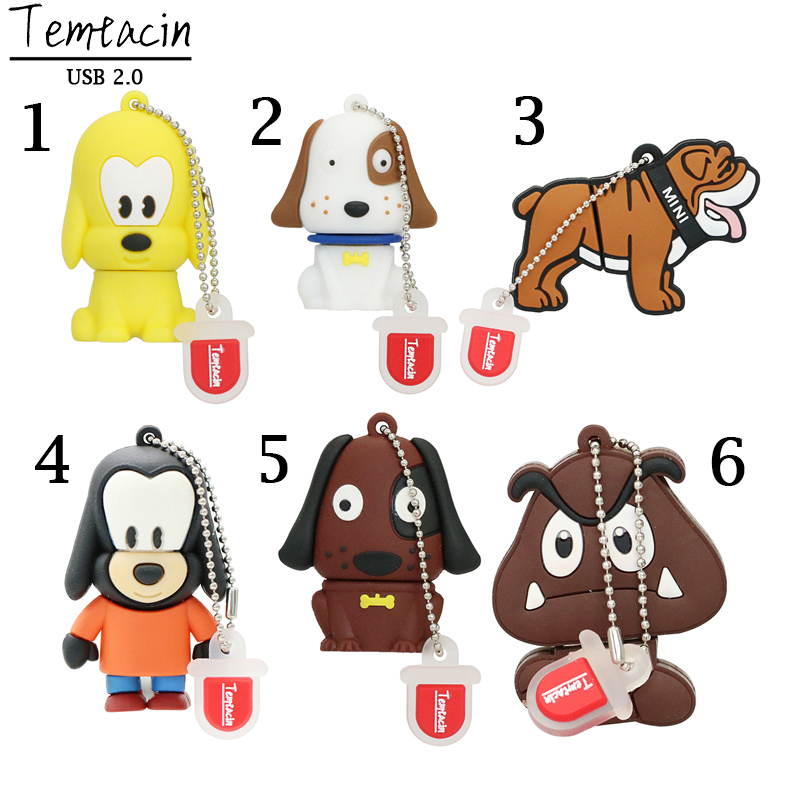 100% ægte kapacitet Cute Puppy Pen Drive Animal Dog USB Flash Drive PenDrives 4GB 8GB 16GB Memory Stick USB Drive