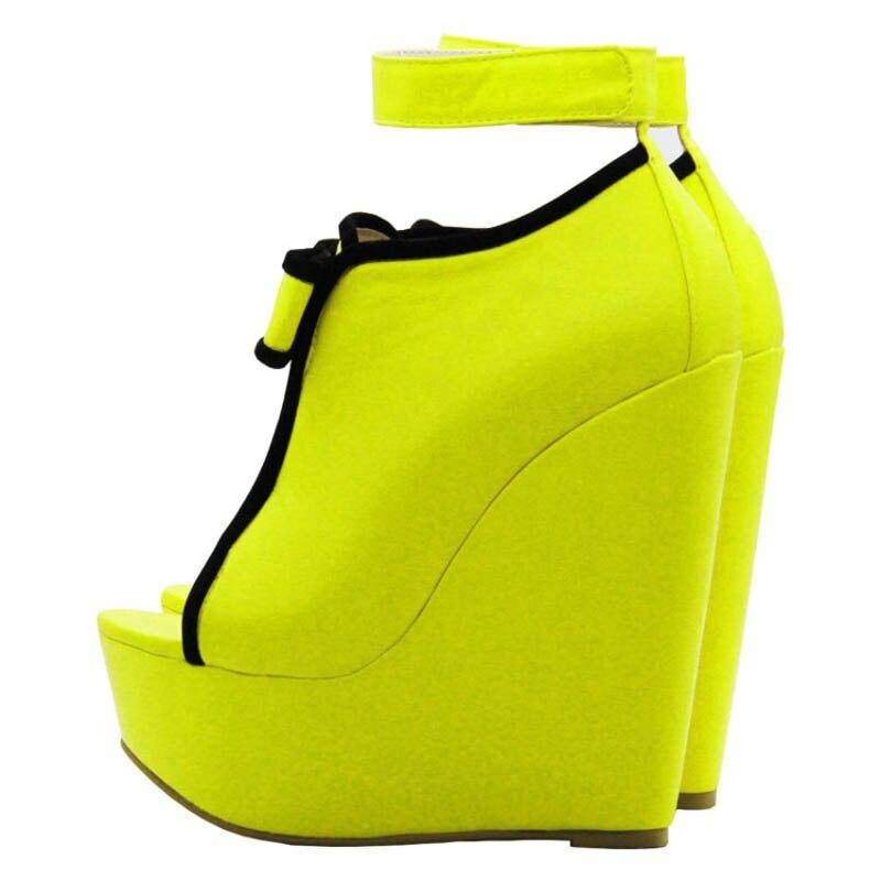 Léopard Y0737912f Femmes Plate Femme Haute Chaussures Jaune Wedge Talons Été Gladiateur forme Cm 15 Automne De Printemps Pompes Sexy TI05wqT