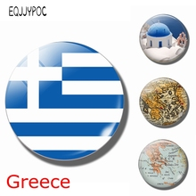 The Republic of Greece Flag 30 MM Fridge Magnet Glass Dome Magnetic Refrigerator Stickers Note Holder Home Decor