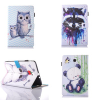 SM T560 Cute Cat OWI PU Leather Cover Stand Case For SAMSUNG Galaxy E 9 6