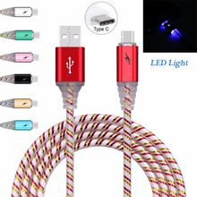 Newest Type-C Glow LED Light USB Cable Data Sync Charger Durable Wire For Samsung s8 s8plus s9 s9plus For Oneplus 5(China)