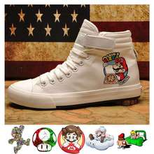 Printed pattern Super Mario funny game Mens Cartoon canvas uppers sneakers Velcroshoelace A193161