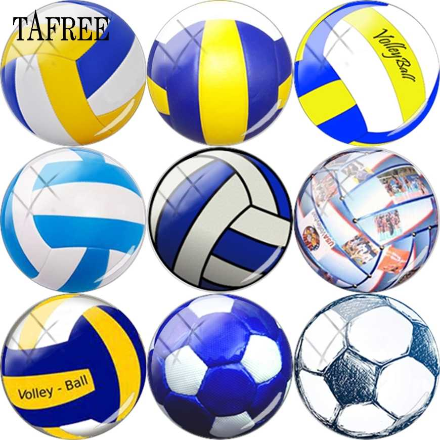 TAFREE voleibol pelota de fútbol deportes foto vidrio cabujón cúpula cubierta colgante DIY cuentas 12mm 15mm 16mm 18mm, 20mm, mm
