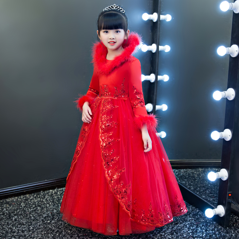 Autumn Winter New Red White Color Elegant Wedding Birthday Party Ball Gown Lace Dress For Girls Children Kids Pageant Long Dress 4pcs new for ball uff bes m18mg noc80b s04g