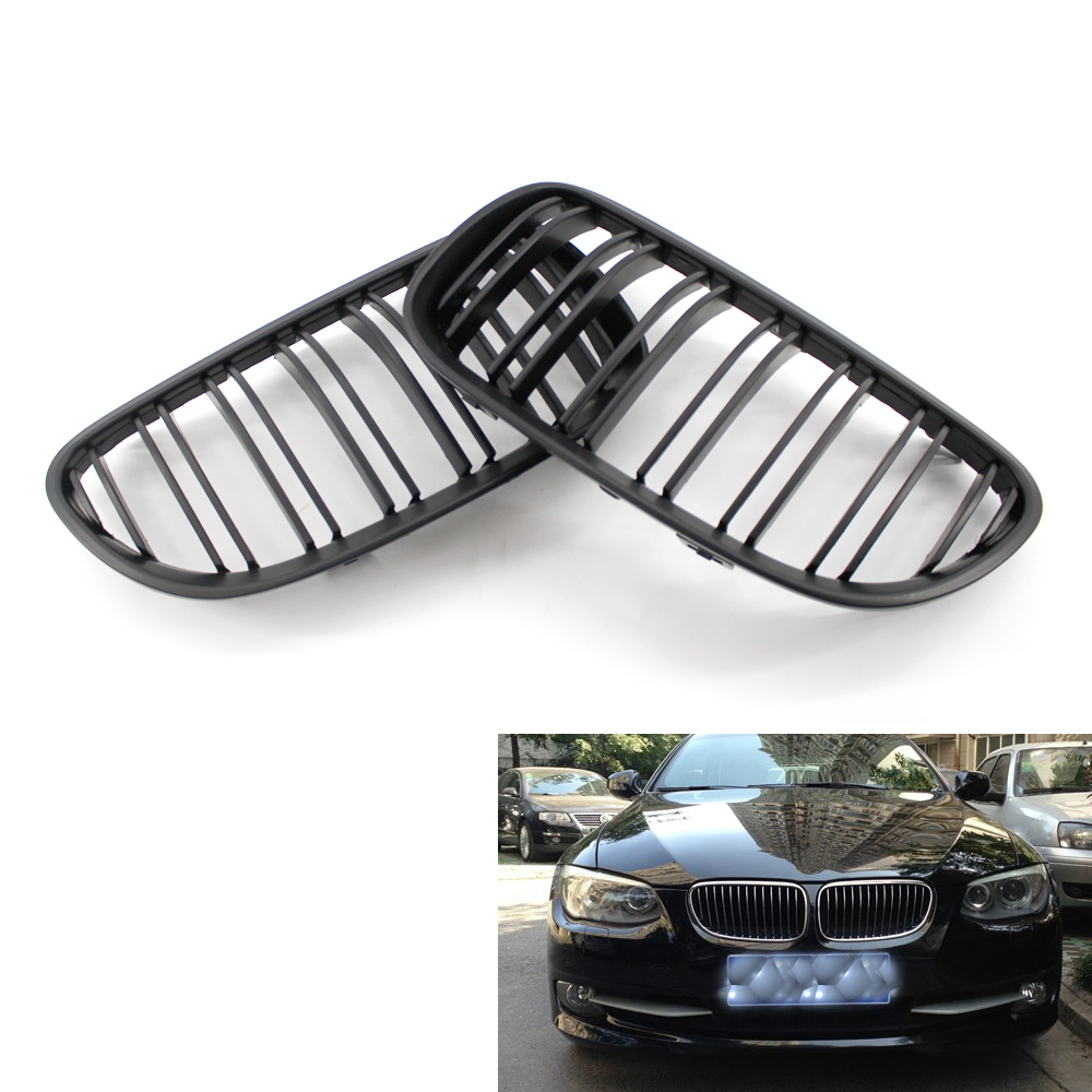 2pcs Grille For BMW 3 Series E92 E93 2 Doors 10-14 Gloss Black Car Front Center Wide Kidney Grill Racing Grill Car-styling 8P car bight glossy black double slat front grille grill for bmw e92 lci facelift e93 2011 2012 2013 c 5