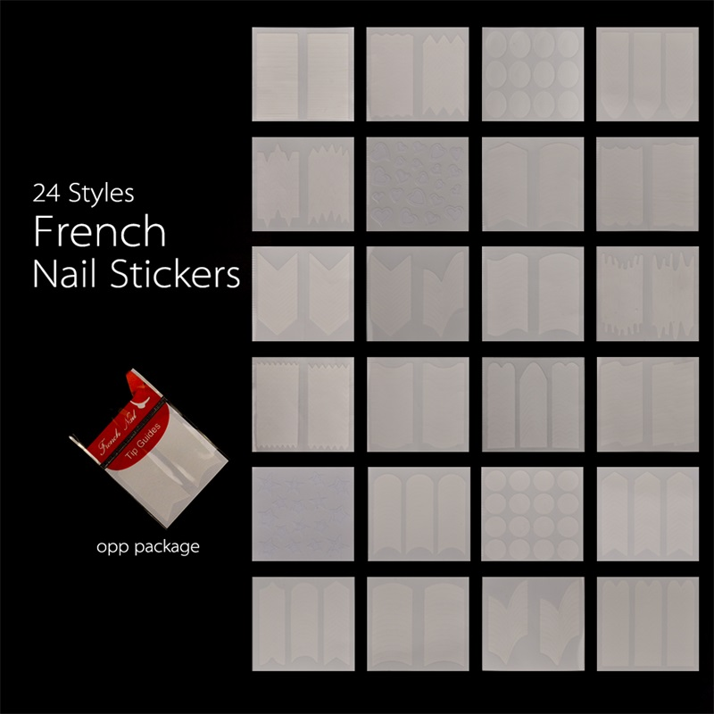 24 Decals French Nail art Stickers Manicure Tips Guide Nails Decoration Form Finger Guides DIY Beauty Nail Tools Decoration new new fashion french manicure 3d nail art diy stickers tips decal nail decoration bcdi